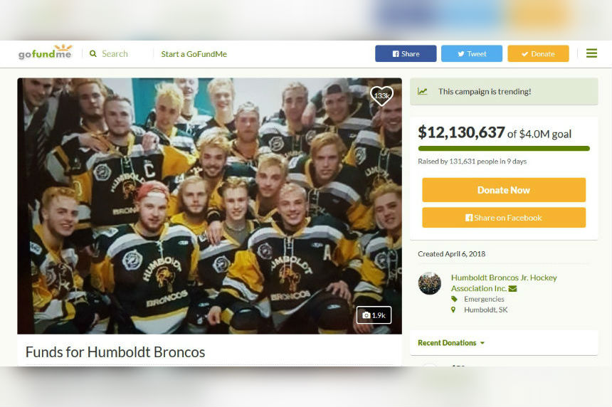 Humboldt Broncos will continue to accept donations after GoFundMe closes