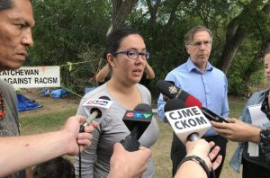 Protest camp supporter Robyn Pitawanakwat announces meeting with province - LS - June 26 2018