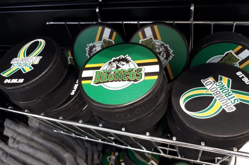 Humboldt Broncos pucks and mini-sticks are available for purchase at the Rider  Store with proceeds going to the Humboldt Strong Community Foundation. a0cc930e5