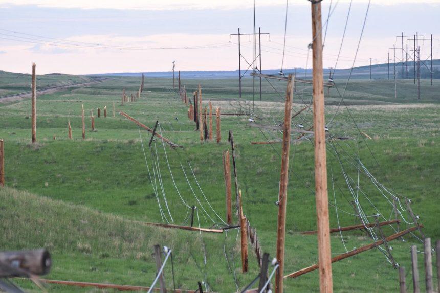 Plow wind knocks down power poles near Coronach