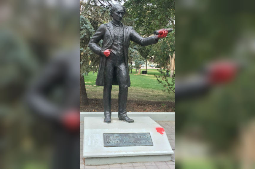 John A MacDonald statue vandal charged with mischief