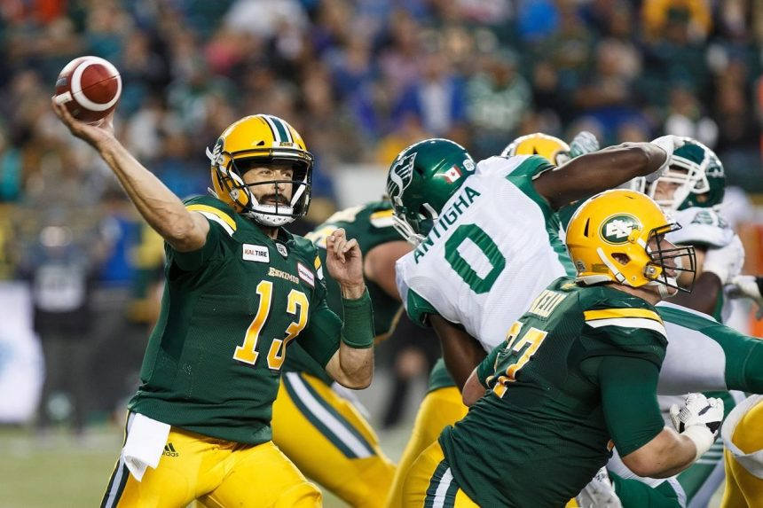 Mike Reilly leads Eskimos to third win in a row, 26-19 over Roughriders