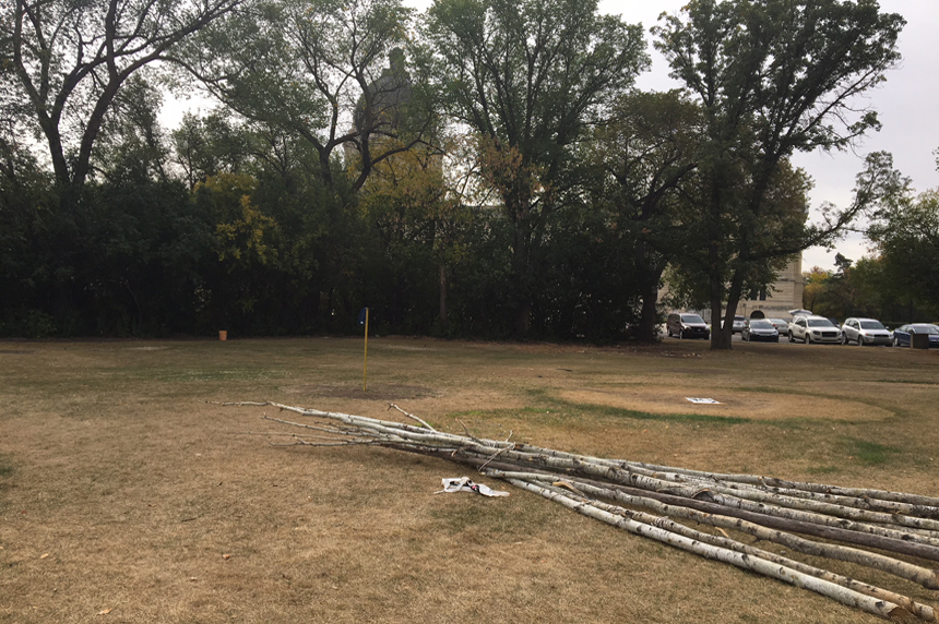 Teepee outlines, court documents left at protest site