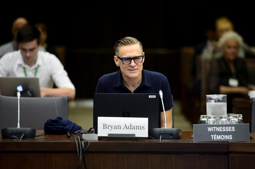 Rocker Bryan Adams calls for changes to Canada's copyright laws to help artists