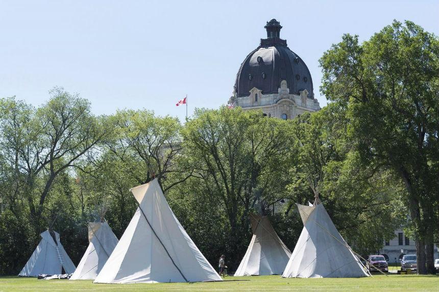 'It's disheartening:' Teepees start to come down at Saskatchewan legislature