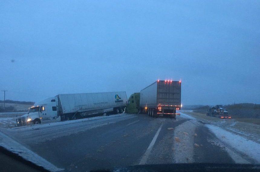 3 semis crash on Hwy 1, road conditions 'hazardous:' RCMP