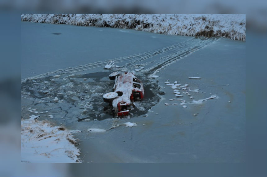 RCMP looking for man after truck found in creek