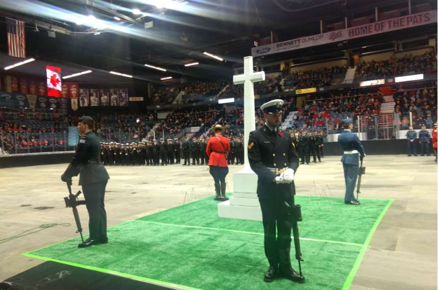 Big crowd at Regina's Brandt Centre for Remembrance Day