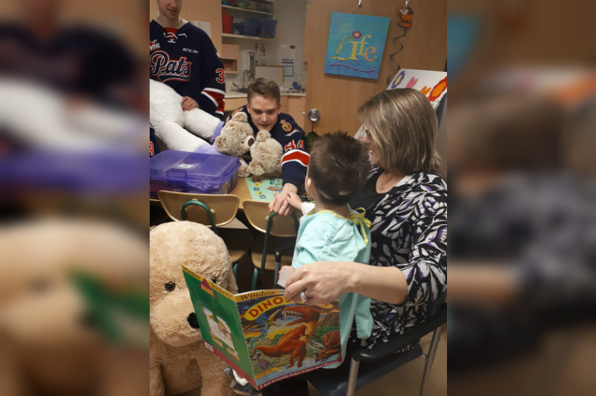 Teddies to tots: Regina Pats visit RGH children's ward