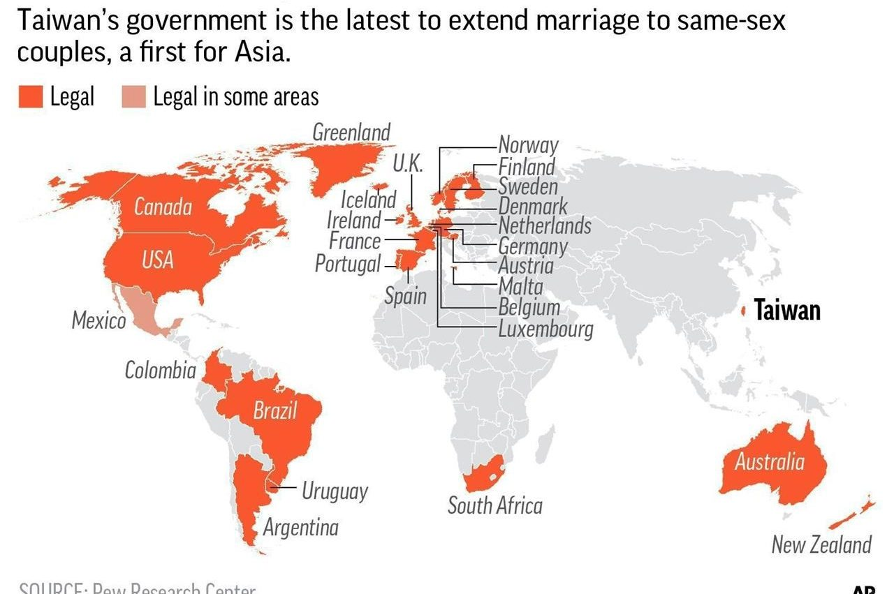 Taiwan approves same- marriage in first for Asia | 980 CJME on map of indonesia and new zealand, map of tahiti and new zealand, map of korea and new zealand, map of thailand and new zealand, map of australia and new zealand, map of south pacific islands and new zealand, map of world and new zealand, map of north america and new zealand, map of europe and new zealand,
