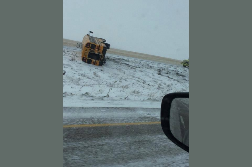 No one seriously hurt in school bus crash on slippery Sask. highway