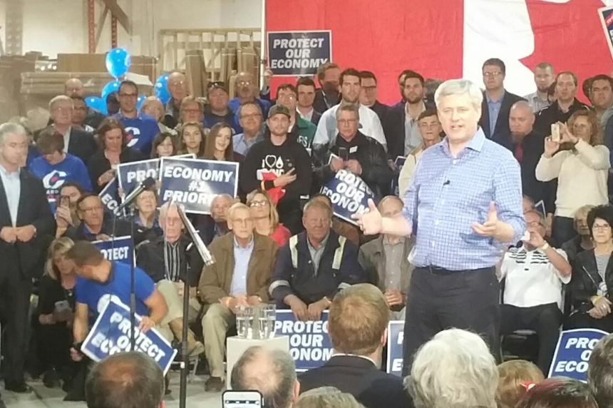 Harper talks economy in front of Sask. supporters, continues campaign trail in Saskatoon