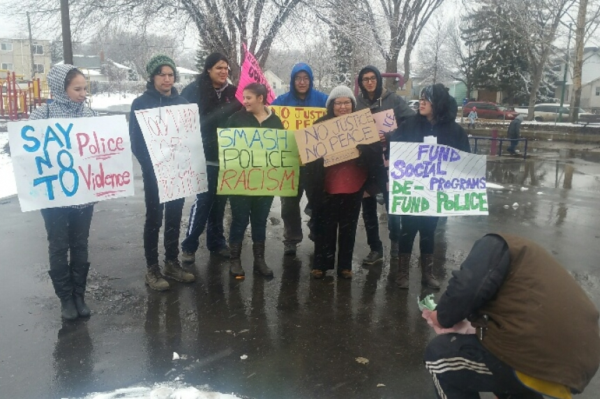Demonstrators protest against police brutality in Saskatoon