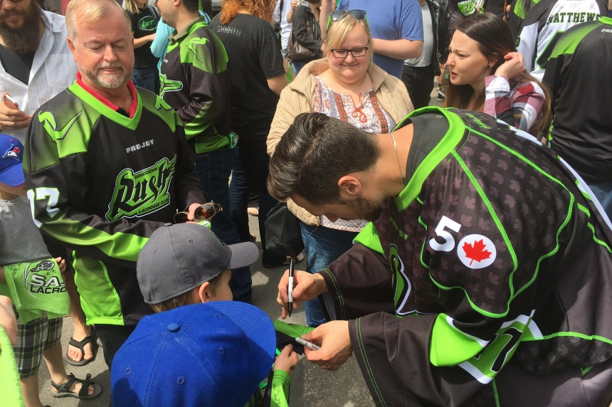 Rush rally kicks off lacrosse playoff fever in Saskatoon