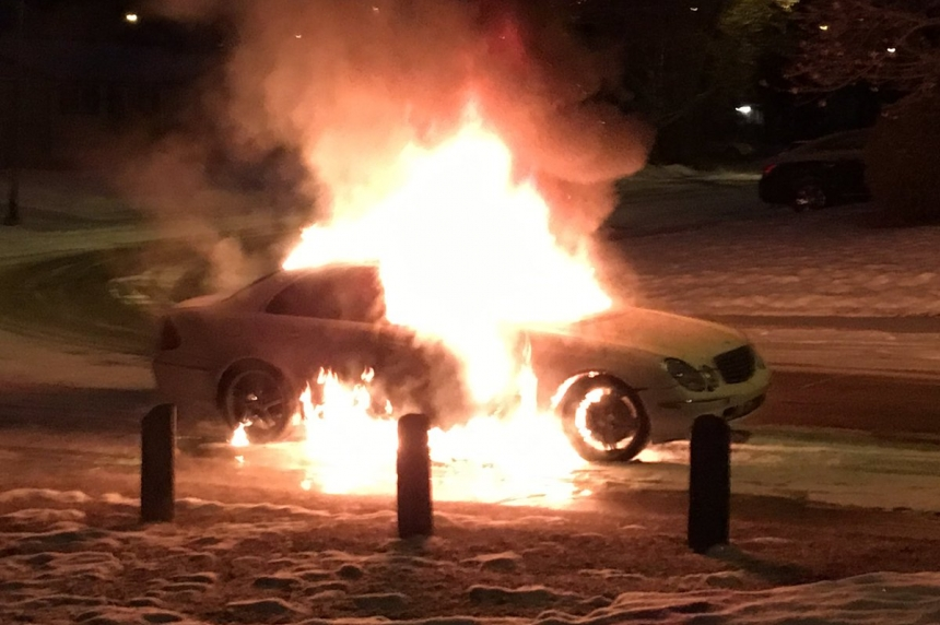 People wake up to flaming car on  Saskatoon street