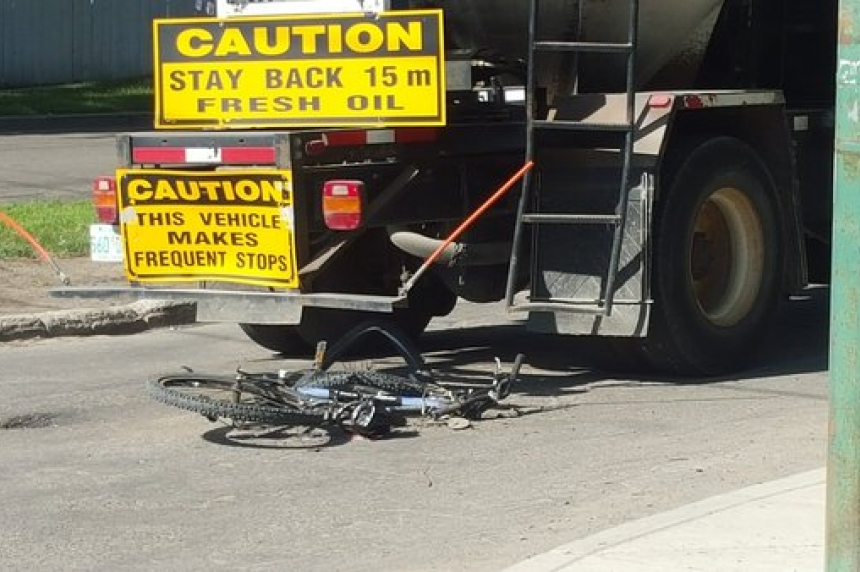 Cyclist sent to hospital after collision with city truck