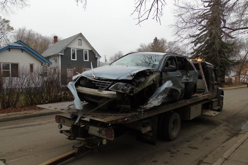 Crash damages 5 parked cars on Garnet Street in Regina