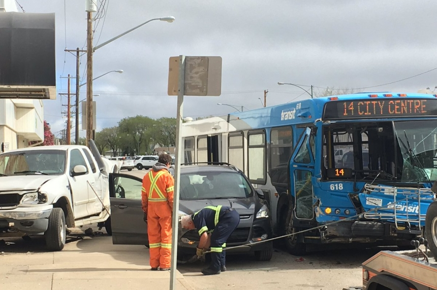 Police respond to crash involving city bus