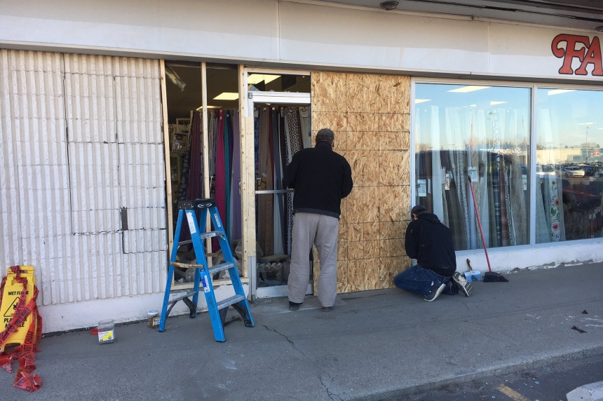 No injuries after vehicle crashes into Fabricland in Saskatoon