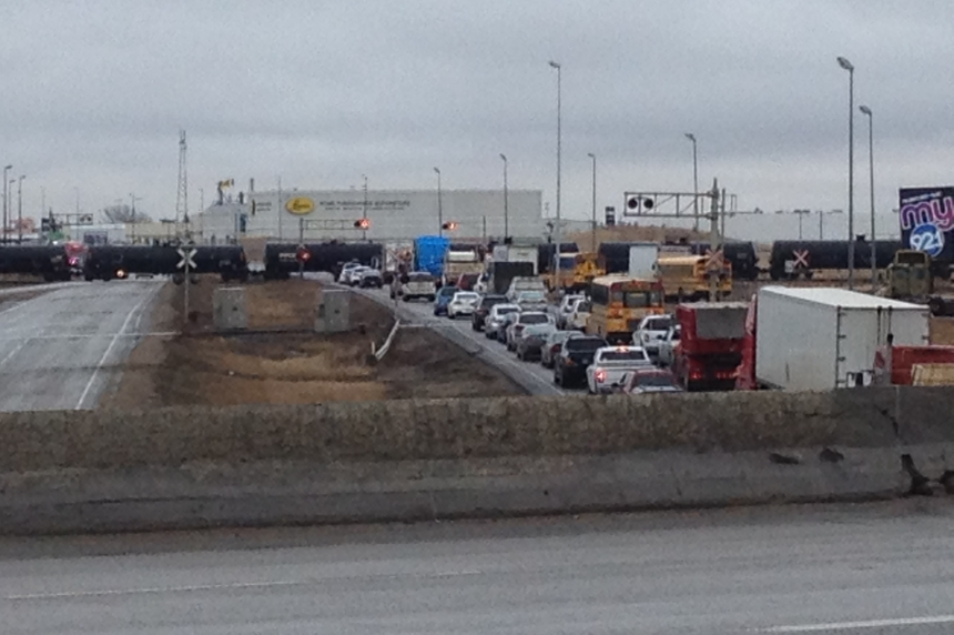 Train freezes traffic on Regina's Ring Road Tuesday