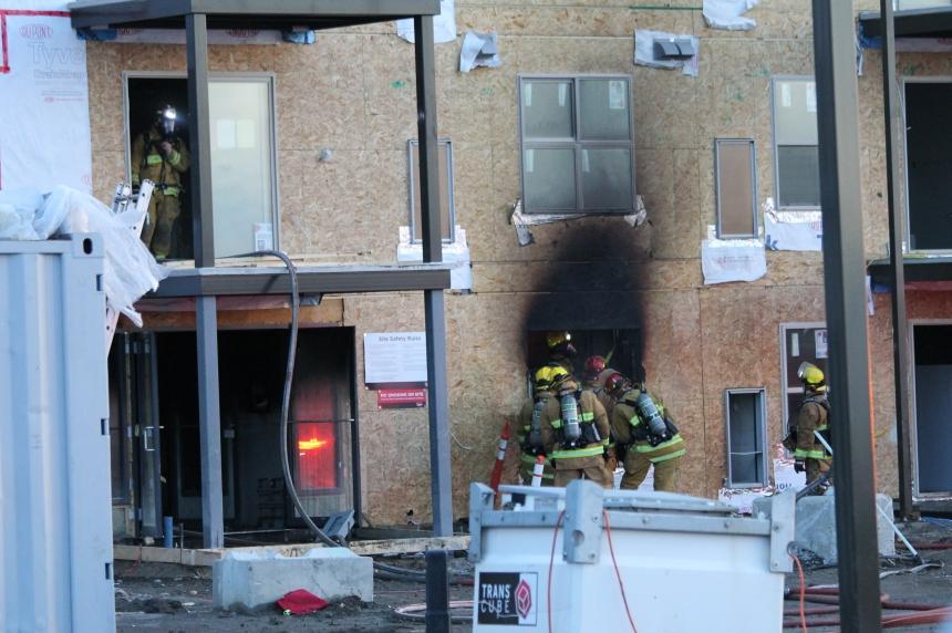 Building under construction catches fire in Regina