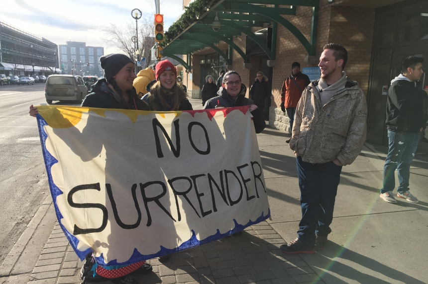 Small protest in Saskatoon against Dakota Access Pipeline