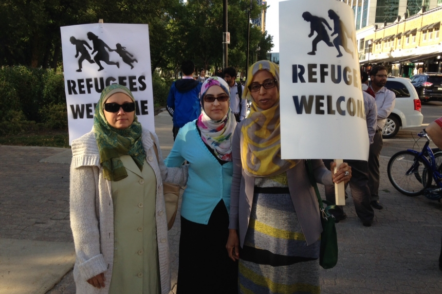 'Refugees are welcome here' chanted at rally in Regina