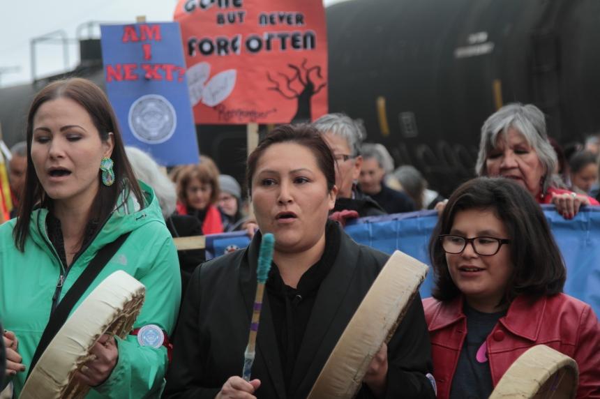 Hundreds march in missing and murdered aboriginal women vigil's landmark anniversary
