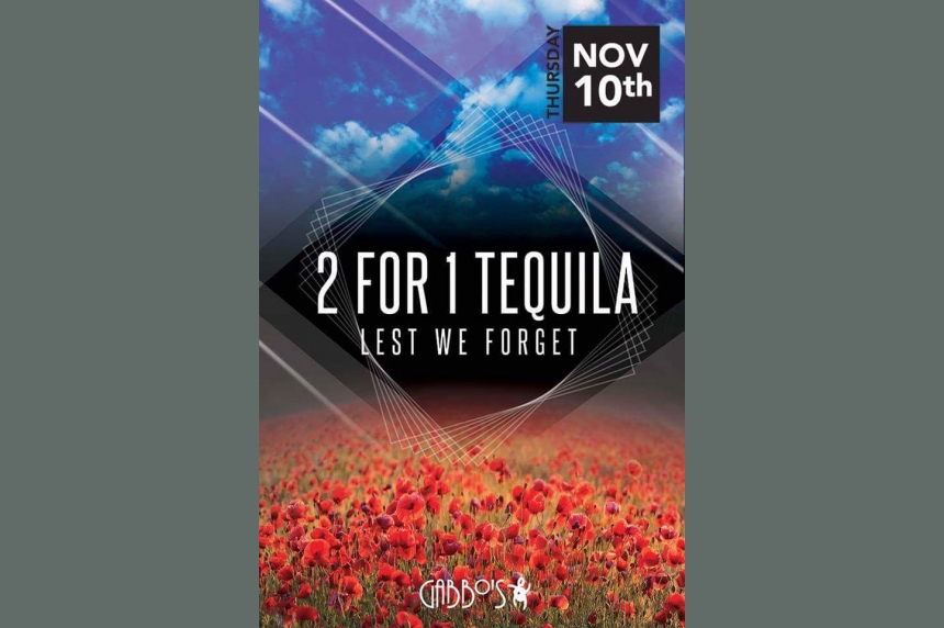 'Lest we forget:' Regina nightclub causes stir over Remembrance Day tequila promo