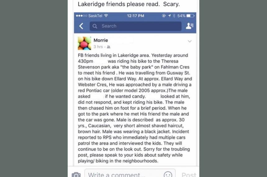 Regina police confirm report of child luring in Lakeridge