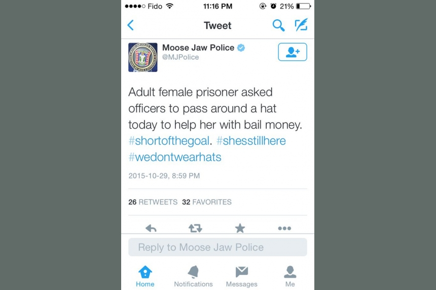 Moose Jaw police appologize for tweet about female prisoner