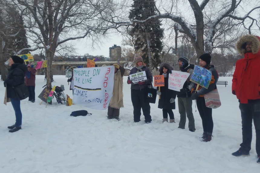 Anti-pipeline group demonstrates in Saskatoon