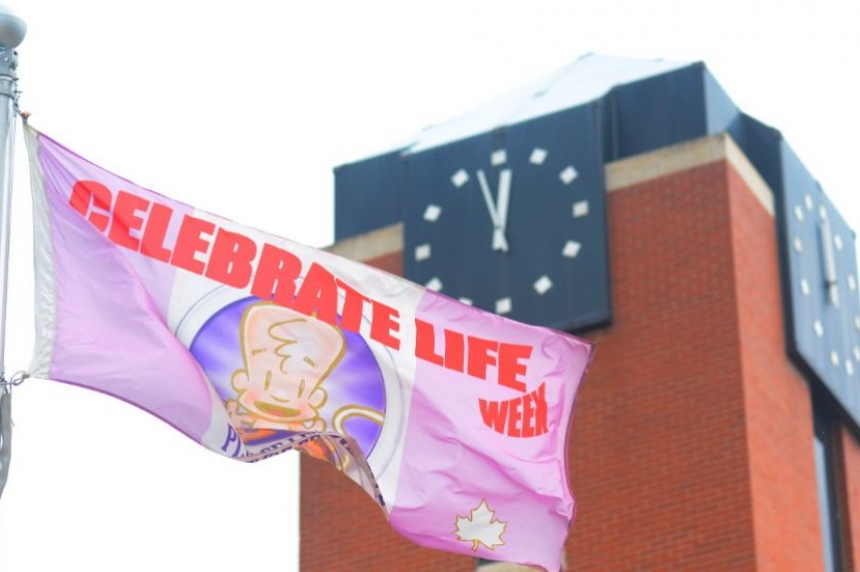 Protestors demand pro-life flag be removed from P.A. City Hall