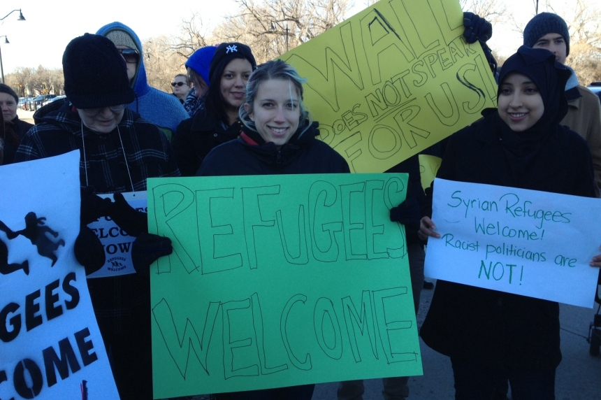 """""""Refugees are welcome here!"""" Rally responds to premier's letter to federal governmnt"""
