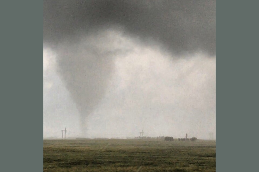 Hail and a tornado spawn from storms in south central Saskatchewan