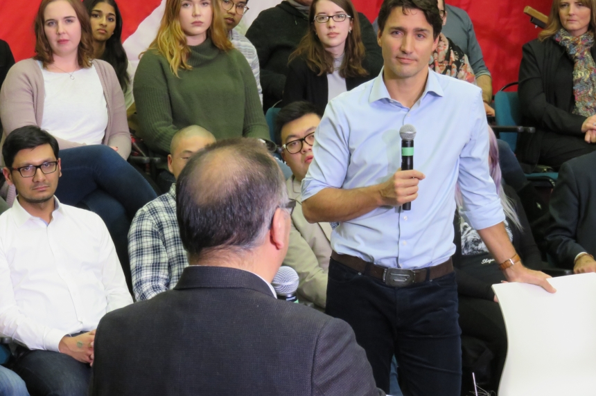 Trudeau speaks to packed theatre for Saskatoon town hall