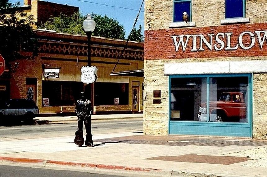 Vigil for Eagles' co-founder Glenn Frey on the corner of Winslow, Arizona
