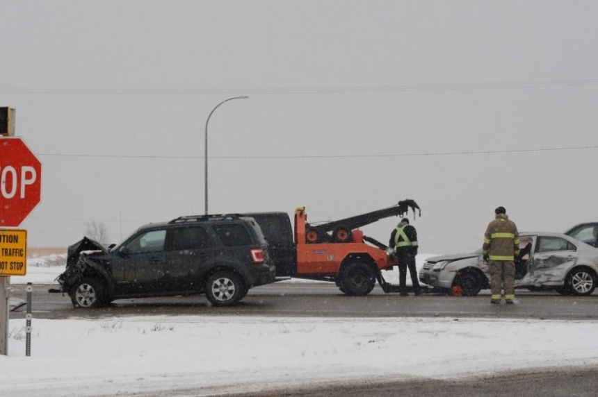 Two-car collision at the intersection of Highway 16 and Battleford Road