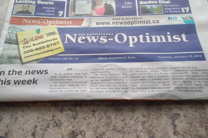 Sask. newspaper reports no news for the week