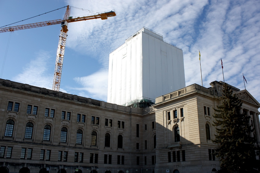 Legislative building dome restoration to be unwrapped Monday night
