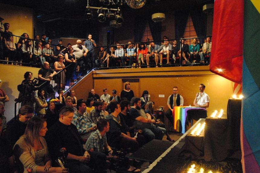 Candlelight vigil at Regina's Q Nightclub for victims of Orlando shooting