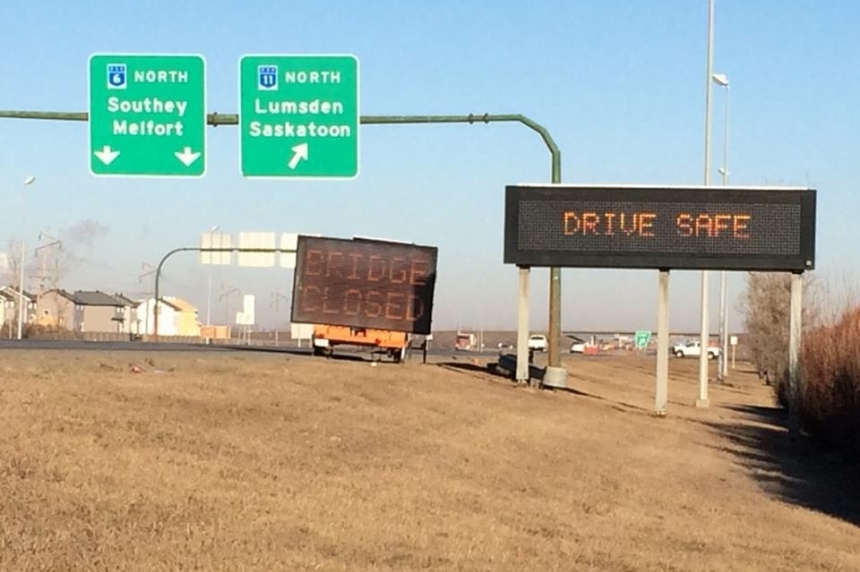 Highway 11 overpass north of Regina closed