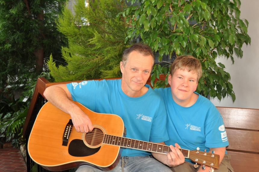 Father-son duo warm seniors' hearts with music
