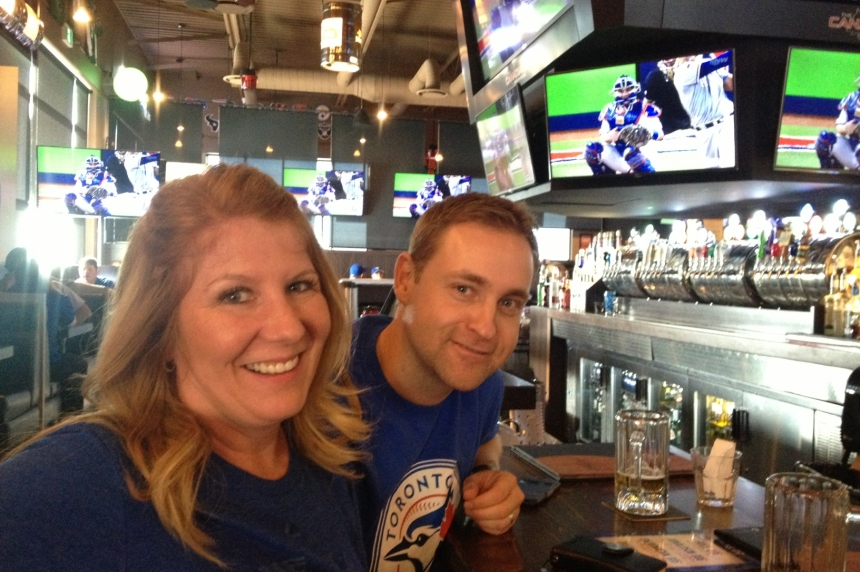 Blue Jays fans take in opening playoff game