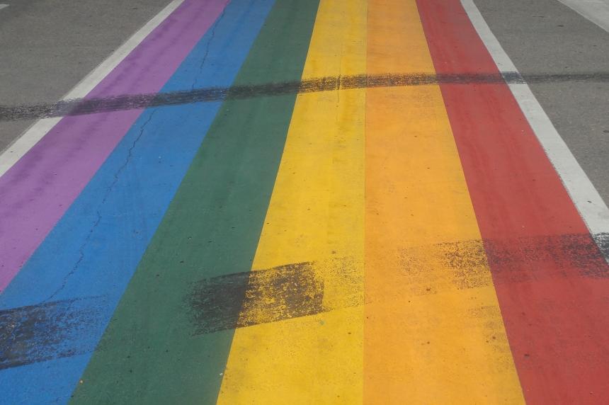 Damaged rainbow crosswalk in Saskatoon to be re-painted