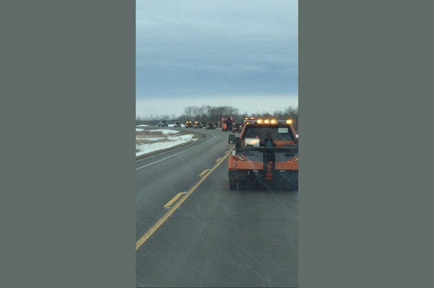 Dozens of tow trucks form a procession to show respect to fallen driver near Yorkton