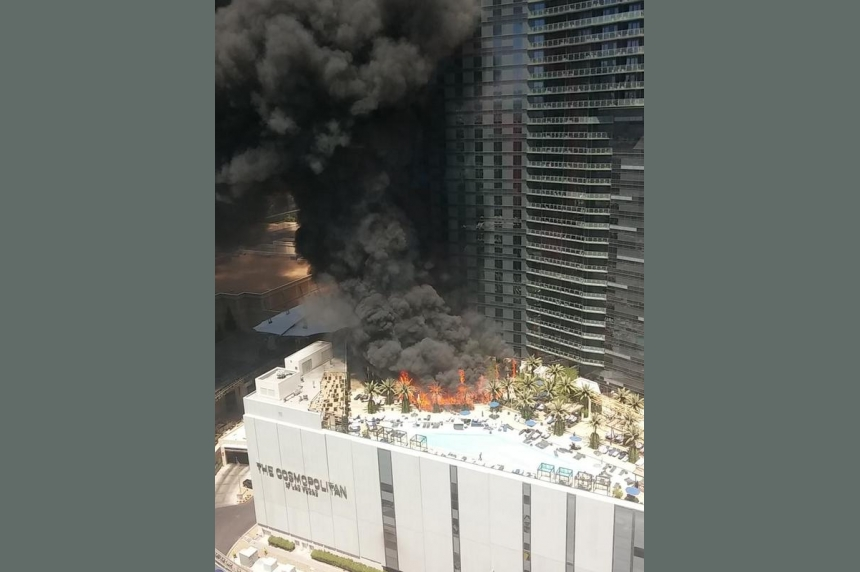 VIDEO: Fire erupts at swimming pool of Las Vegas hotel