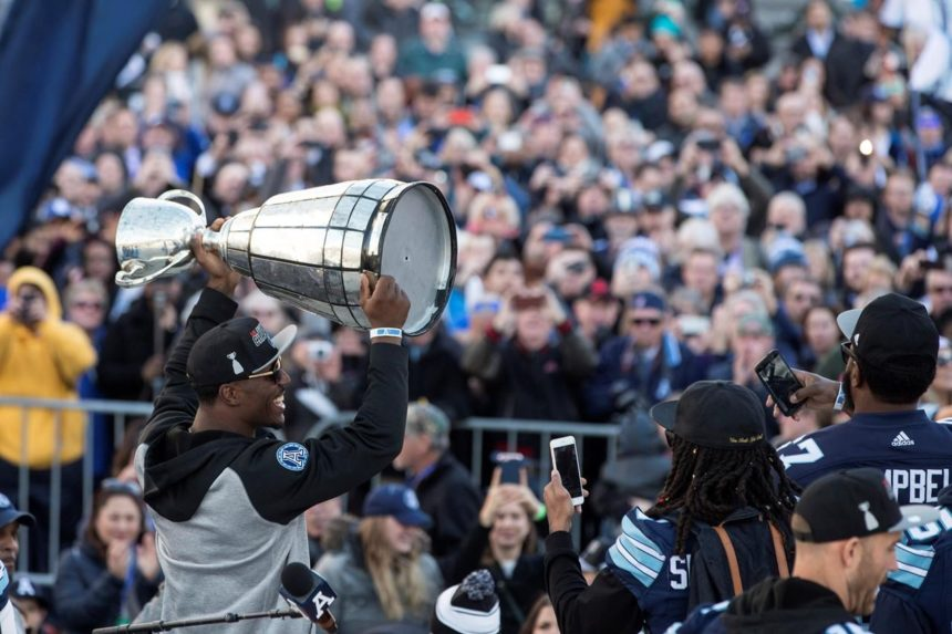 Argos celebrate improbable CFL championship win at rally in Toronto