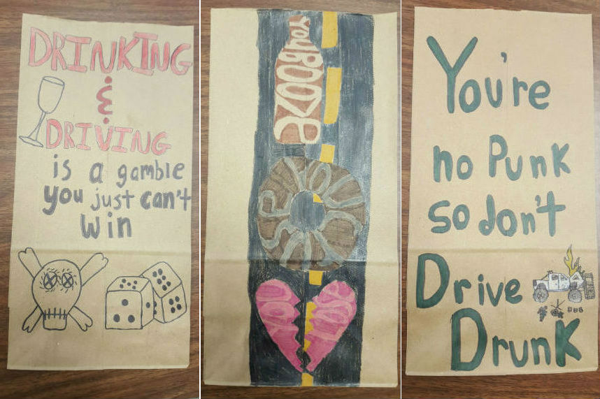 Kids draw anti-drunk driving messages on liquor store bags