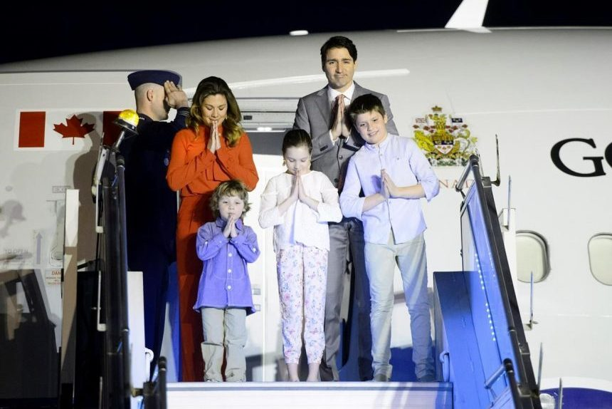 PM Trudeau, family, kick off Indian state visit with namaste greeting at airport